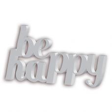 """Letras 3D bloco em PVC """"be happy"""" 20mm"""
