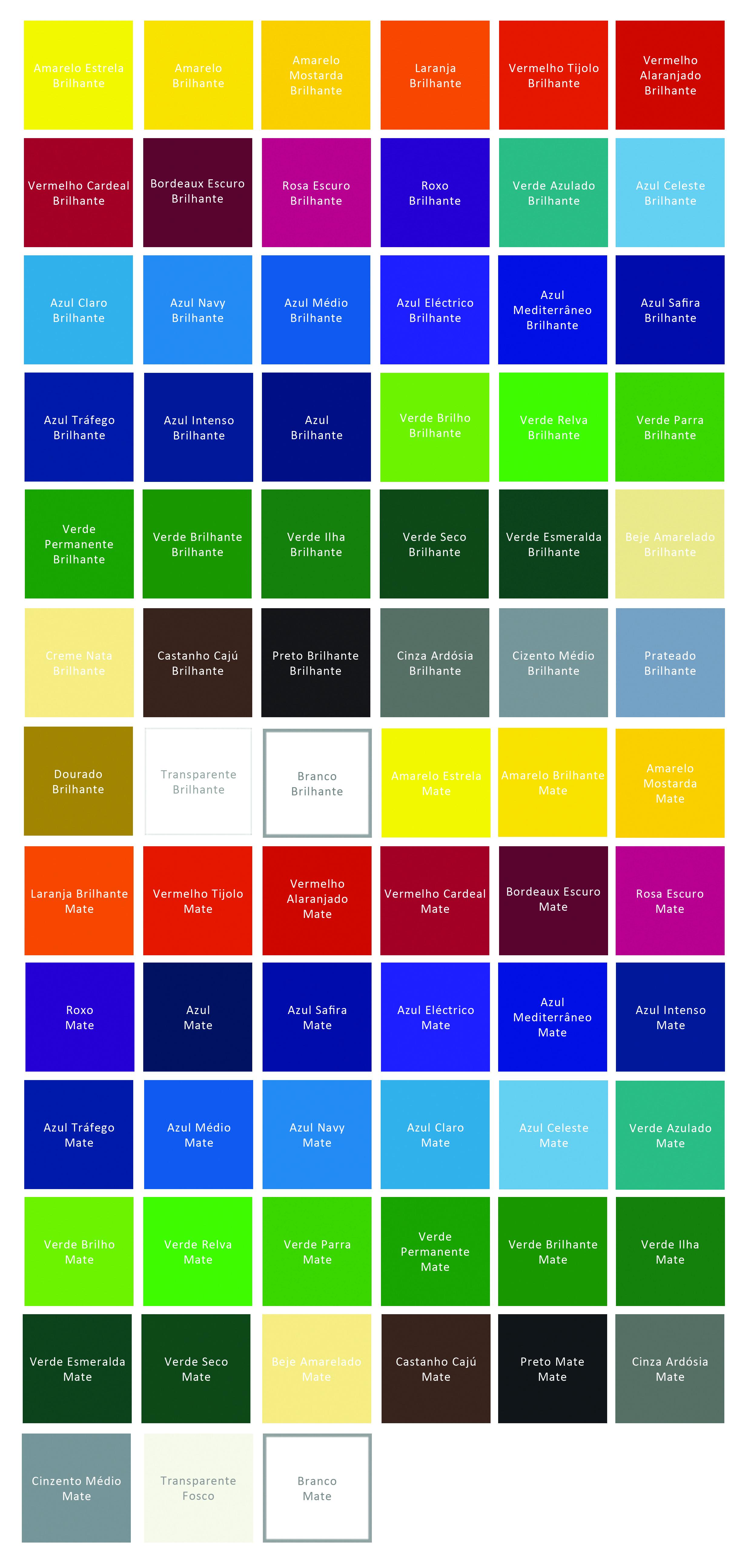 Tabela de cores vinil de recorte